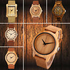 Mens Womens Bamboo Wood Watch Quartz Leather Strap Wooden Quartz Wrist Watch US