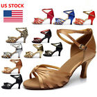 US Women Ladies Strappy Prom Waltz Tango Ballroom High Heels Sandals Dance Shoes