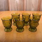 6 Green Indiana Whitehall Juice Glasses Footed Water Cup Vintage MCM