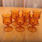 6 Indiana Glass Company Amber Small Kings Crown Thumbprint Wine Goblets Vintage