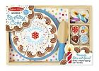 Melissa  Doug Birthday Party Cake Wooden Play Food With MixnMatch Toppings and