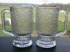 2 Indiana Glass CRYSTAL ICE Cup Mug 14 oz Tree Bark Footed Textured Beer Stein