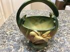 ROSEVILLE ZEPHYR LILY BASKET 1940S 393 7 GREENS  BROWN REPAIRED