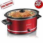 Crockpot Hamilton Beach Slow Cooker Large 8 Quart Crock Pot Oval Manual RED NEW