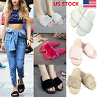 US Women Ladies Slip On Fluffy Fur Flats Slippers Mules Sandals Flip Flops Shoes