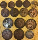 15 Great Britain Coins 1844 Sterling Shilling Farthings 1/2P & Pennies Lot