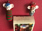 Lot of 2 Vtg Hallmark Ornament Stocking Mouse Elf In Thimble Christmas Ornaments