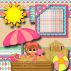 SANDBOX FUN girl 2 premade scrapbook pages 3D paper piecing layout BY CHERRY