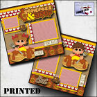 PANCAKES  SYRUP 2 PREMADE SCRAPBOOK PAGES printed layout paper piecing CHERRY