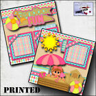 SANDBOX FUN GIRL PRINTED 2 premade scrapbook pages paper layout BY CHERRY