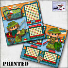 FISHING boy girl PRINTED 2 PREMADE SCRAPBOOK PAGES layout paper BY CHERRY