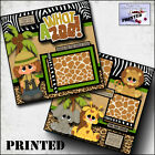 WHAT A ZOO girl printed 2 premade scrapbook pages paper layout album BY CHERRY