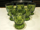 Vintage Indiana/Fostoria American Whitehall Colony Olive Green Footed Tumblers 6