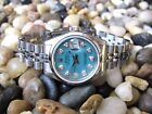 ROLEX LADIES DATEJUST BLUE MOTHER OF PEARL DIAMOND DIAL BOX PAPERS TAG SAPPHIRE