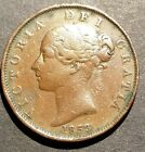 1853 Great Britain 1/2 Penny Lot Nice Detail, Scratches