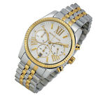 100 New Michael Kors Lexington Silver Two Tone Womens 38mm Case Watch MK5955