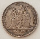1894 Guatemala 90% Silver One Un Peso Rare Low Mintage Nice Grade Details Toning