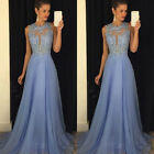 2017Sequins Long Maxi Formal Prom Cocktail Party Ball Gown Evening Bridal Dress