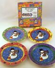 SANGO Boxed Set of 4 Ceramic SALAD PLATES Snowman SWEET SHOPPE CHRISTMAS 8