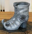 YANKEE CANDLE WITCHES BOOTS JAR CANDLE HOLDER 2014 HALLOWEEN SPIDER WEB W TAG