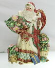 1996 FITZ AND FLOYD Hand Painted 1 Quart Christmas Wreath Santa Pitcher
