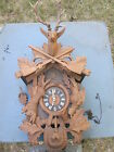 Vintage German Hunter style cuckoo clock Large 32 Inches to tip of deer horns