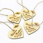 100Personalized Wedding Tags love Heart Wooden Tag With Jute Ribbon Decor Favor