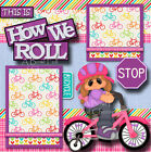 HOW WE ROLL BICYCLE GIRL 2 premade scrapbook pages paper piecing layout CHERRY