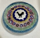 Baccarat 1971 Gridel rooster and concentric millefiori paperweight