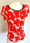 Ruby Rd Short Sleeve Blouse Red Floral Beaded Sz Small