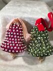 Vintage Handmade Sequin And Bead Bell Christmas Ornaments