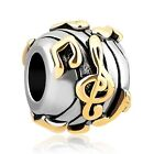 925 silver Music Note Charm Pandora musician yellow gold notes Bracelet