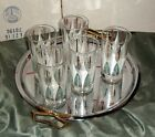 5 VINTAGE 8 OZ DRINKING GLASSES WITH WHITE/GOLD/TURQUOISE 50'S/60'S