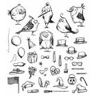 Tim Holtz Cling Rubber Stamps Mini Bird Crazy  Things CMS250