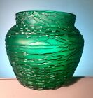 Loetz Kralik Jugendstil Green Threaded Vase Austrian Art Glass