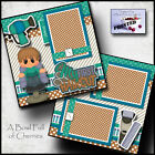 MY FIRST HAIRCUT BOY printed 2 premade scrapbook pages paper LAYOUT CHERRY