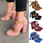 Women Block Heel Suede Pointed Toe Lace Up Ankle Strappy Chunky Sandals Shoes