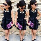 US Stock Summer Toddler Kid Girls Ruffle Tulle princess Dress Party Dresses NEW