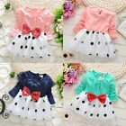 US Stock Toddler Kids Baby Girls Princess Long sleeve Bowknot Dress Clothes NEW
