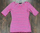 Green Envelope Womens Gray And Pink Striped Casual Top Short Sleeve Size S Small