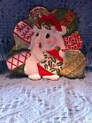 NOS FITZ AND FLOYD CHRISTMAS BUNNY BLOOM CANAPE PLATE