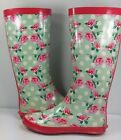 Redfoot Womens Walk in Park Festival Rain Boots Wellys Floral Mint Size 8 39