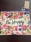 NWT NATURAL LIFE Floral Be Happy Recycled Zip Pouch Coin purse Wallet