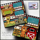 PETTING ZOO animals 2 premade scrapbooking pages paper printed layout BY CHERRY