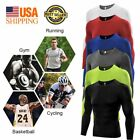 Mens Compression Under Base Layer Tops Tight Body Armour Long Sleeve T Shirts