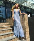 2017 New BCBG Max Azria 498 Elina Embroidered Tulle Gown Blue Wedding Formal
