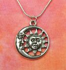 Sun in Crescent Moon Necklace Celestial Sunmoon Charm Pendant Jewelry Gift Box