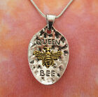 Queen Bee Pendant or Necklace Honey Bumble Spoon Large Gold Silver Charm Gift