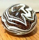 SATAVA Studio W. Campbell 2002 Passion Brown Swirl Art Glass Paperweight Flume