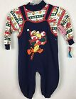 Vtg Winnie The Pooh  Tigger 24mon Toddler Holiday Set 2 Piece Bib Overall c